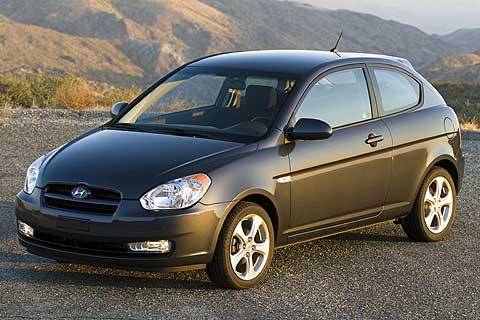 Exterior front, side view of the 2007 Hyundai Accent Compact Economy 3-Door Hatchback Coupe