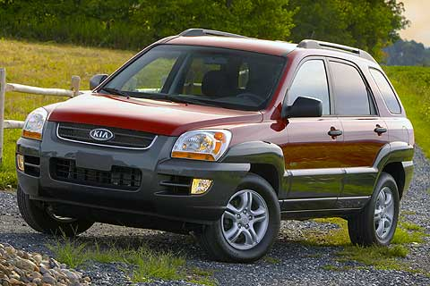 Exterior front, side view of the 2007 Kia Sportage Compact Sport Utility Vehicle