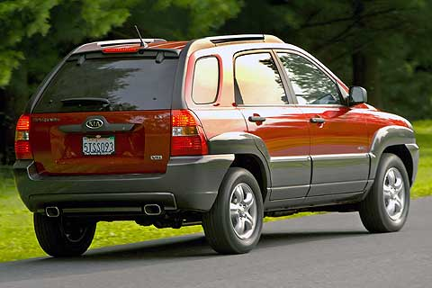 Exterior rear, side view of the 2007 Kia Sportage Compact Sport Utility Vehicle